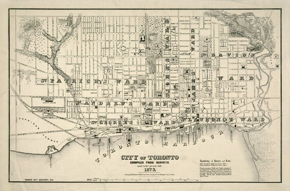 Map Of Canada In 1873.Vintage Map Toronto Canada 1873