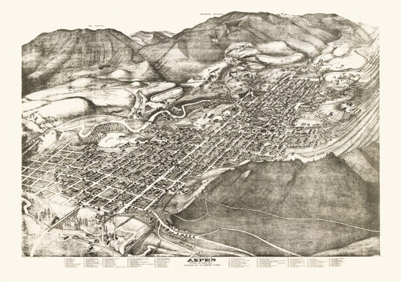 Vintage Map Aspen Colorado 1893 | Etsy