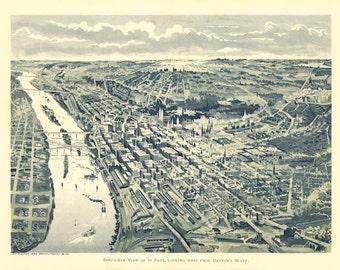 Vintage Map - St Paul,  Minnesota 1893