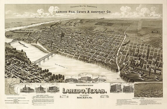 Map Of Texas Showing Laredo.Vintage Map Laredo Texas 1892