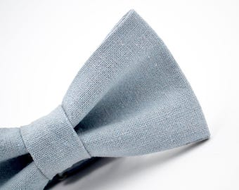d3ed9297316d Dusty Blue Linen Bow Tie, Adult and Children's Sizes, Groomsmen, Wedding Bow  Tie, Handmade Bow Tie