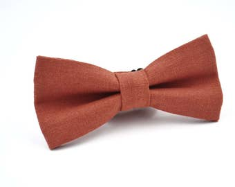 Mens Bowtie In Copper Linen Rust Bow Tie By AmandaJoHandmade On Etsy