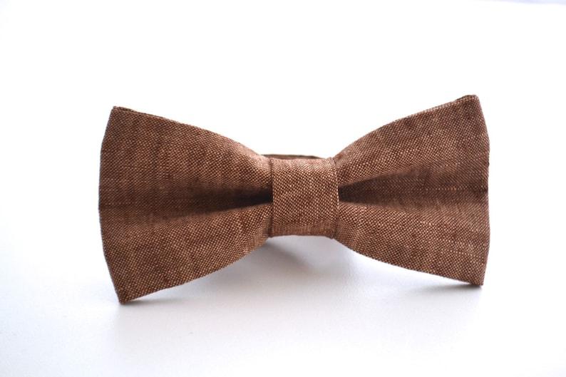 5 Mens Bowties in Brown Linen Groomsmen Bow Tie Groom Bow image 0