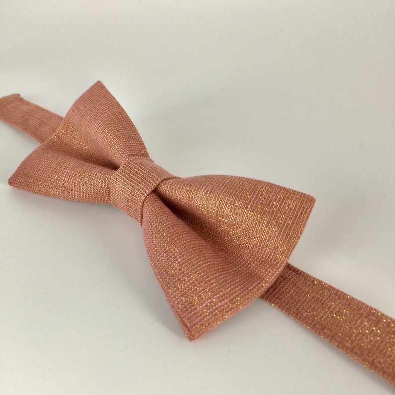 af8ece07fd85 Mens Bowtie in Rose Gold Metallic Linen Rose Sparkle Bow Tie | Etsy