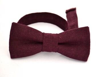 Boys Purple Bow Tie, Boys Bow Tie, Ring Bearer Bow Tie, Wedding Bow Tie, Purple Bow Tie, Eggplant Purple Bow Tie