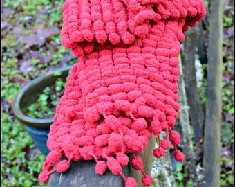 Red Pompom scarf soft and warm bright red plush scarf colorful soft winter fashion accessory handmade and ready to wear