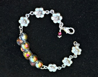 Silver Flower Bracelet with Czech Glass Button Beads Gold Silver Pink and Red colorful jewelry gift