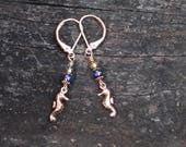 Tiny Seahorse Earrings handmade rose gold copper colored seahorse earrings with purple and sea green Czech glass bead accents handmade gift
