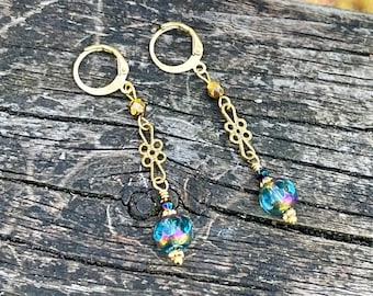 Sky Blue Earrings with Bronze accents handmade sparkling Czech Glass and Brass earrings