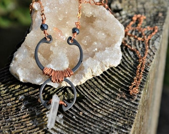 Boho Crystal Necklace with Copper and Steel assemblage jewelry long handmade boho necklace