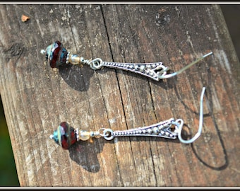 Silver Arrow Earrings with Red Picasso Glass handmade gift