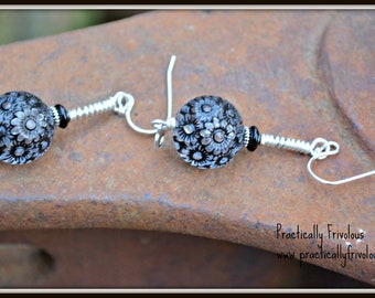 Black Lace Earrings Lucite Glass and Silver Dangle Earrings
