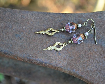 Rose Gold Earrings Czech glass earrings with vintage art deco brass charms sparkling dangle earrings