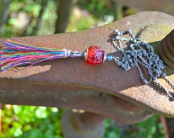 Rainbow Tassel Necklace with long silver beaded chain multicolor silk tassel and glass bead necklace