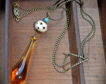 Amber Teardrop Necklace Vintage Assemblage ooak jewelry gift