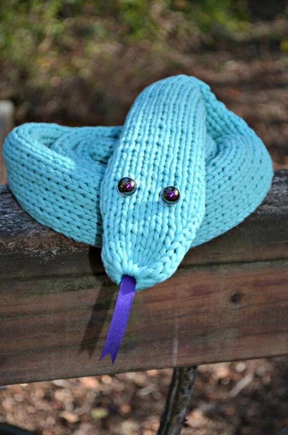 Bufanda de punto azul bicho largo bufanda serpiente de regalo | Etsy