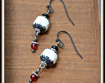 Black White and Red Earrings sparkling unusual jewelry gift