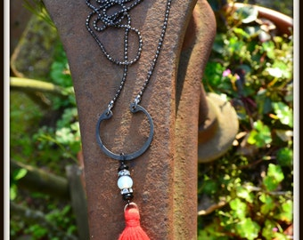 Red Tassel Necklace with Rhinestones and Steel colorful boho hippie gypsy jewelry gift