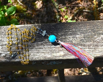 Rainbow Tassel Necklace colorful silk tassel and glass bead necklace with Bali silver and vintage rhinestone accents