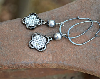 Vintage Rhinestone Earrings on oxidized silver hoops handmade earrings