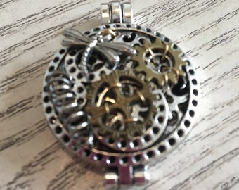Steampunk Locket Necklace, Essential Oil, Aromatherapy, Homeopathic Jewelry