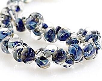 12 pieces 10mm Lampwork Glass Blue Raindrop Beads