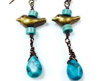 Bird Turquoise Dangle Earrings, Boho Earrings, Bohemian Jewelry, Hippie