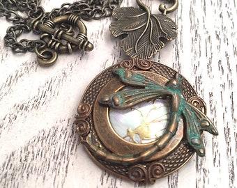 Brass Dragonfly Pendant Necklace, Victorian Necklace, Bohemian, Art Nouveau Jewelry