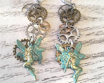 Fairy Earrings, Steampunk Faerie Earrings, Gear Earrings, Angel Earrings