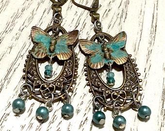 Butterfly and Pearl Filigree Dangle Earrings, Victorian Jewelry, Boho Jewelry