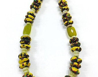 Tribal African Ethnic Krobo Bead Necklace, Yellow Gemstone Necklace