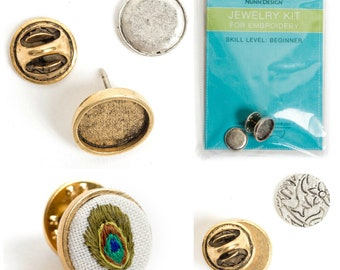 Round Lapel Pin Embroidery Kit for Jewelry