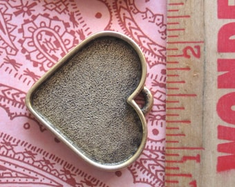 LARGE HEART BEZEL Pendant Resin Collage Frame- Antique Silver or Antique Gold - High Quality Workmanship