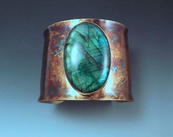 Emerald Labradorite- Rainbow Patina- One of a Kind- Metalsmithed- Statement Cuff Bracelet