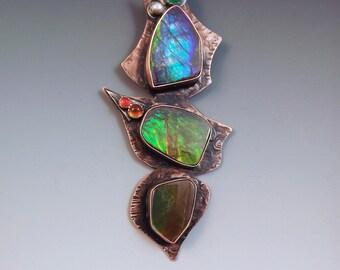 STUNNING Triple Ammolite Totem Pendant- Emerald- Maderia Citrine- Carnelian- Mixed Metal- Copper Ammolite Necklace