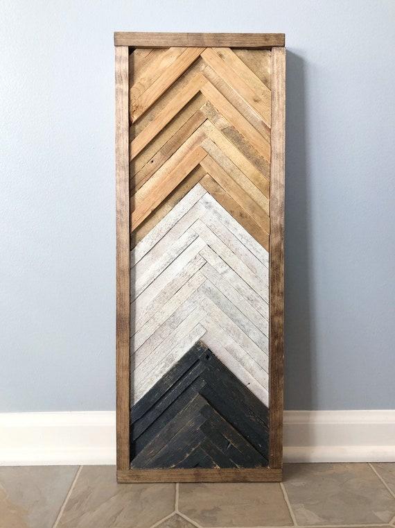 Geometric Chevron Wood Wall Artdecor Etsy