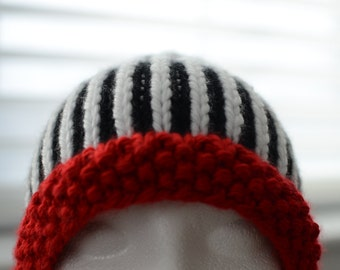 95d93763efb Items similar to Red and White Striped Beanie Hat With Pom Pom ...