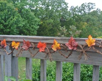 Fall Wedding Decor, Bridal Shower Decor, Vine Garland With Fall Leaves