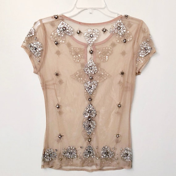 Vintage Womens Top | Tan Netting/Tulle Silver Hear