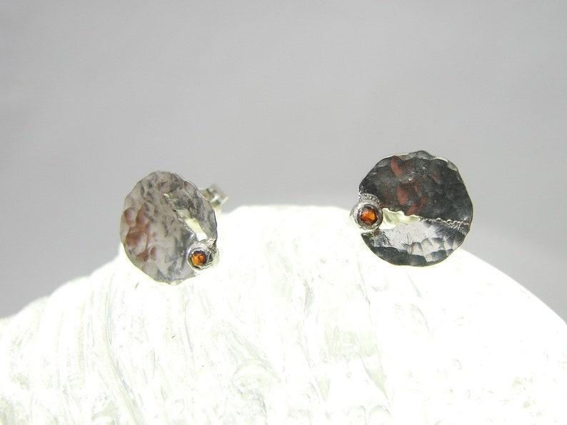 In the Cleft Sterling silver  Garnet Earrings