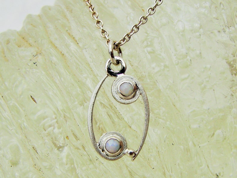 White Opal  Sterling Silver Horoscope Pendant Zodiac Sign Symbol of CANCER