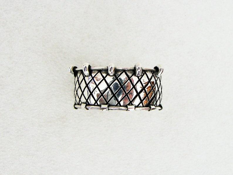 Wide Sterling Silver Ring Fishermans Net