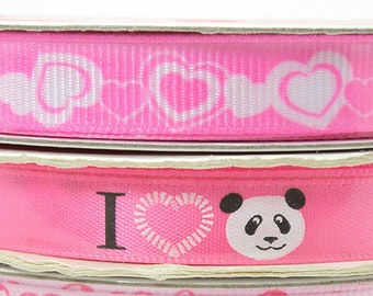 3/8 inch Pink Valentine's Day Ribbon -or- I Love Panda Ribbon, Pink Grosgrain Ribbon with White Hearts, 3 yards Pink Heart Ribbon
