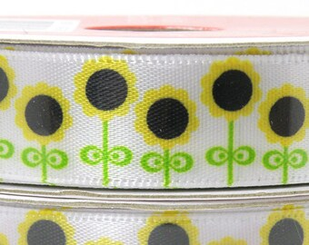 5/8 in Sunflower Ribbon, Row of Sunflowers, White Ribbon with Sunflower Design. 3 yard roll of 5/8 inch ribbon