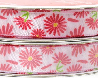 Red Flower Ribbon, Red Daisies, Red Asters, White Ribbon with Red Flower Design, Narrow Flower Ribbon, 3/8 inch 3 yards