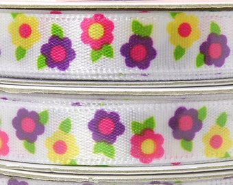 Brightly Colored Spring Flower Ribbon, 3/8 inch Easter Ribbon, 3 yards roll, Pink Flowers, Purple Flowers, Yellow Flowers