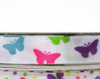 Brightly Colored Spring Butterfly Ribbon, White Ribbon with Brightly Colored Butterflies, 3/8 inch Easter Ribbon, 3 yards per roll