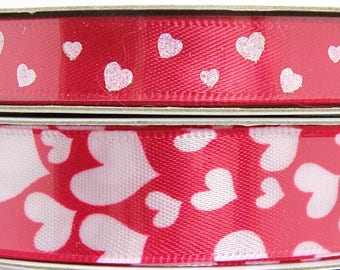 Red Valentine Ribbon, Red Ribbon with Pink Glitter Hearts, Red Ribbon with White Hearts, Valentine's Day Ribbon 3/8 inch 5/8 inch 3 yards