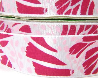 5/8 inch Floral Ribbon, Rosy Red and Pink Floral Design, Bold Modern Floral Print, Tropical Flower Ribbon, 8 feet, about 3 yards
