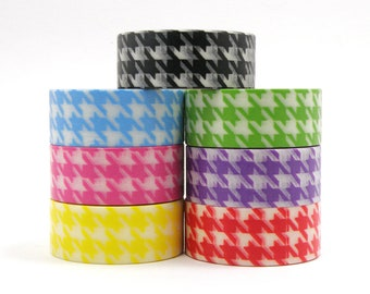 Houndstooth Pattern Washi Tape - 5 yards - choose from pink, red, yellow, green, or light blue houndstooth washi tape